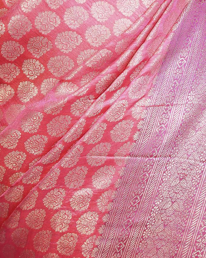 Katan Silk Party Saree - Light Purple and Red