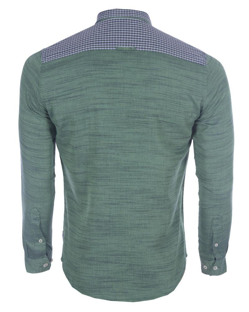 Linen Casual Long Sleeve Shirt - Green