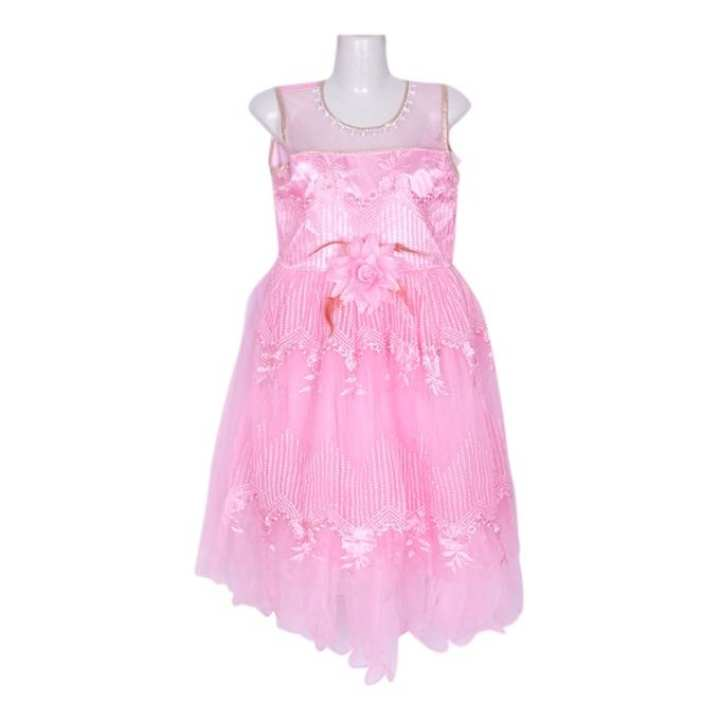 Hot Pink Cotton Mix Party Frock For Girls