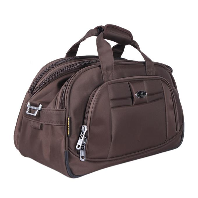 Medium Brown Polyester Travel Bag For Men