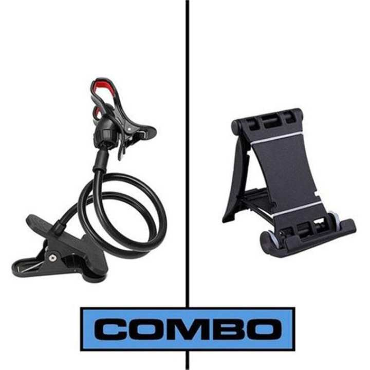 Combo of Multi Mobile Tablet Stand & 360 Rotate Mobile and Tablet Stand - Black