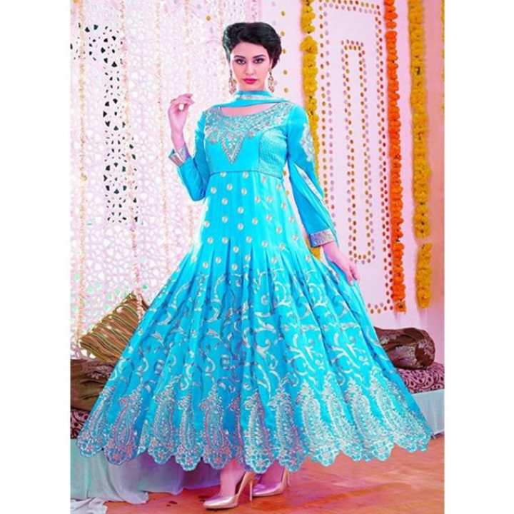Aqua Georgette Unstitched Gown for Women