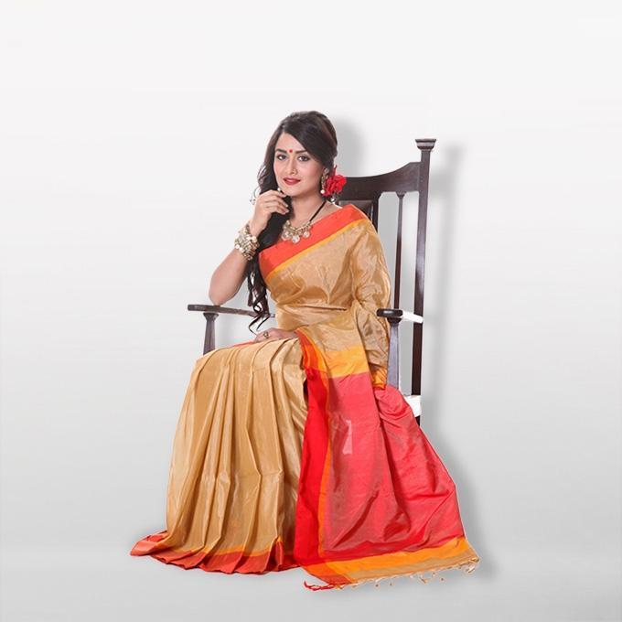 Multicolor Tussar Silk Saree for Women