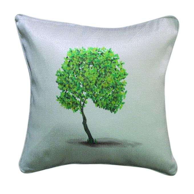 Big Tree Printed Cushion Cover - Light Gray
