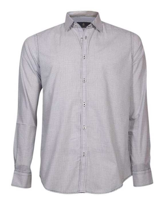 Cotton Formal Long Sleeves Shirt - White and Black