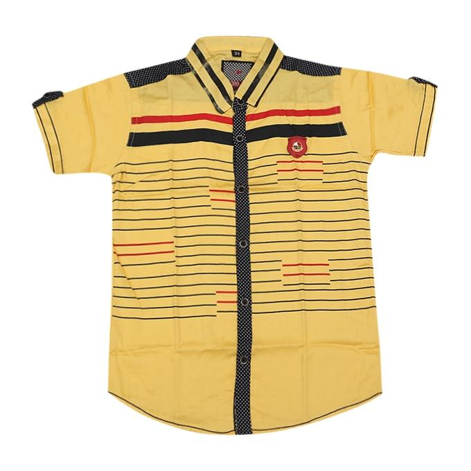 Yellow Cotton Casual Short Sleeve Shirt For Boys
