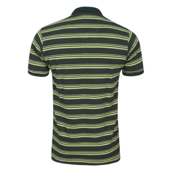 Black and Olive Cotton Casual Polo For Men