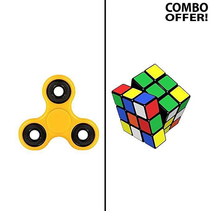 Fidget Spinner & Rubik's Magic Cube - Yellow & Multicolor