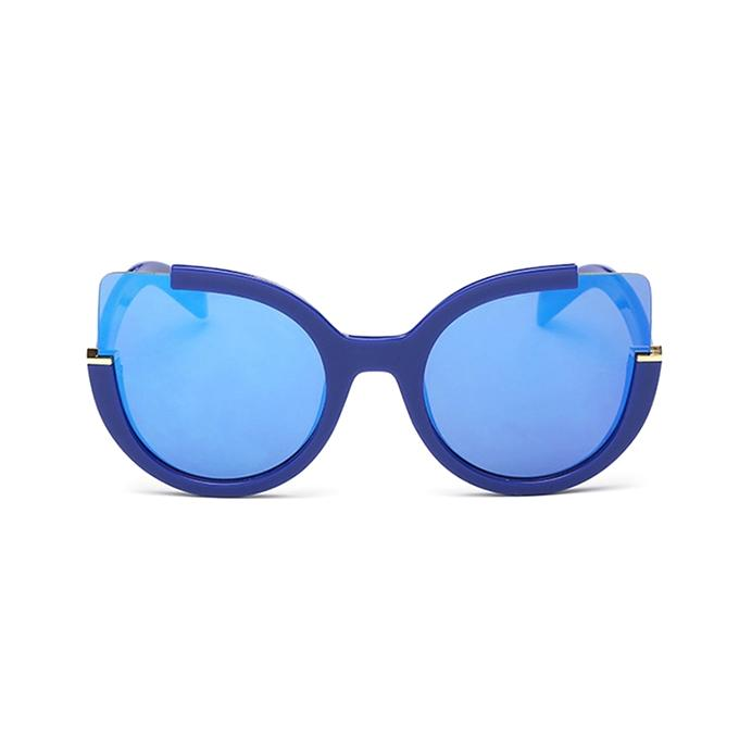Blue Cat Eye Poly-carbonate Mirror Sun-glass For Women