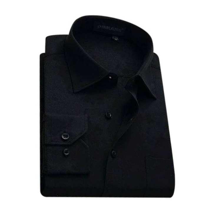 Black Torry Cotton Formal Long Sleeve Shirt For Men
