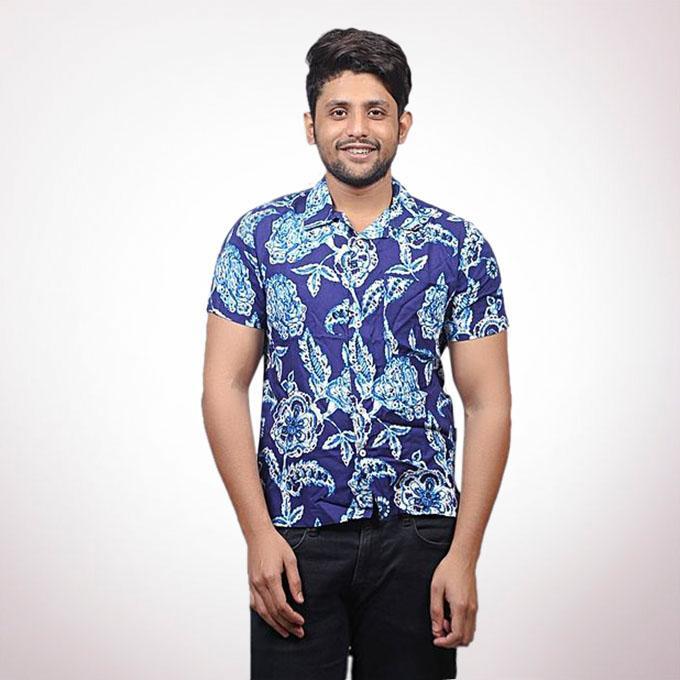 Navy Print Cotton Viscose Casual Short Sleeve Shirt for Men
