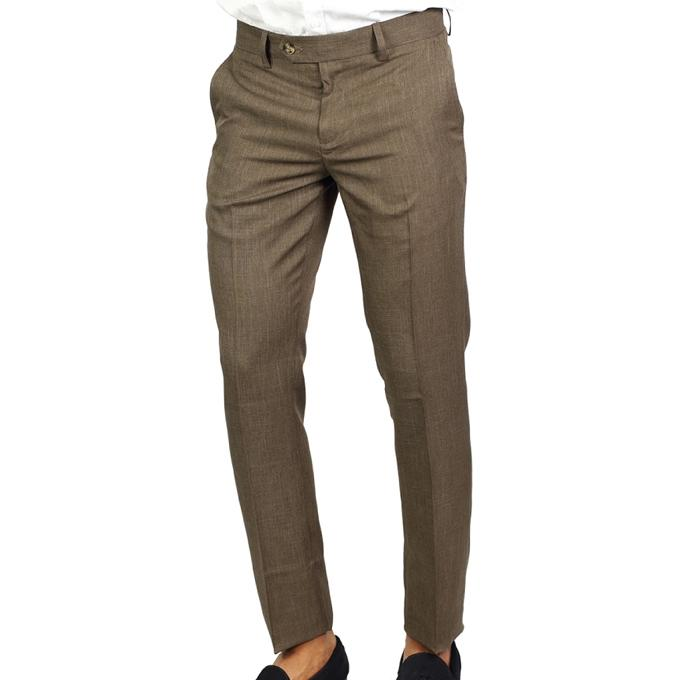 Khaki Poly Viscose Formal Pant For Men