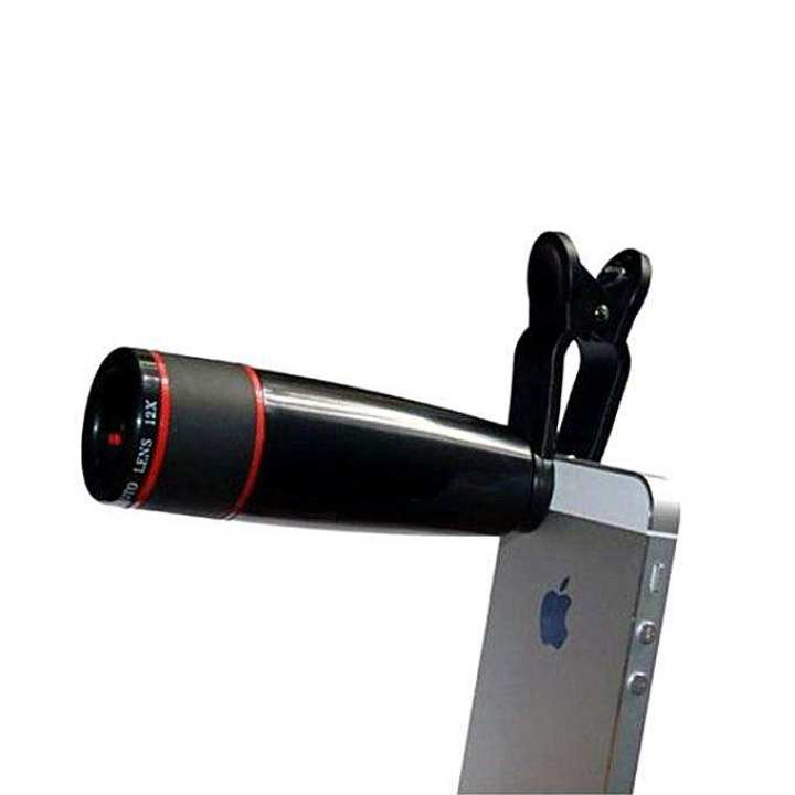 Universal 10X Zoom Mobile Phone Telescope Lens with Adjustable Clip Mobile Phone Lens - Black