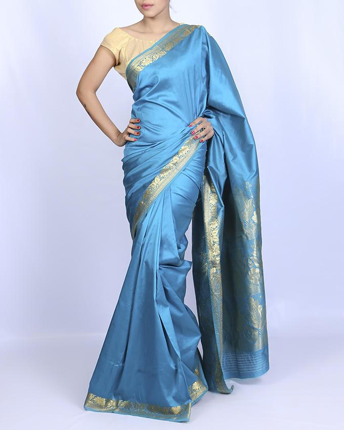 Katan Silk Party Saree - Firoza and Golden