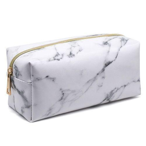 Marble Cosmetic Bag Cuboid Shaped Large Capacity Toiletries Organization Makeup Bags