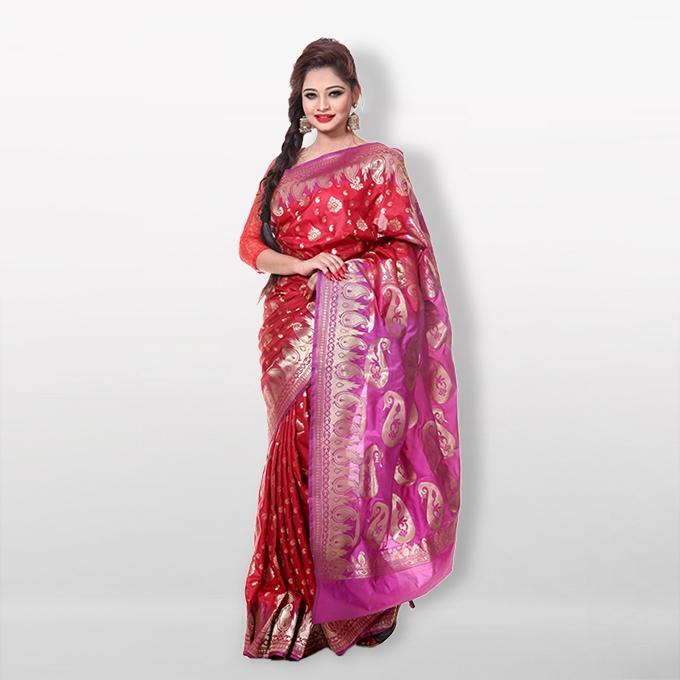 Red and Pink Katan Saree for Women