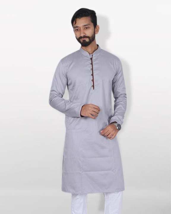 Cotton Casual Panjabi For Men - Ash