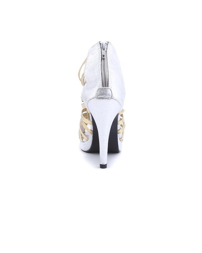 Leather Women Pointed Stiletto - Silver
