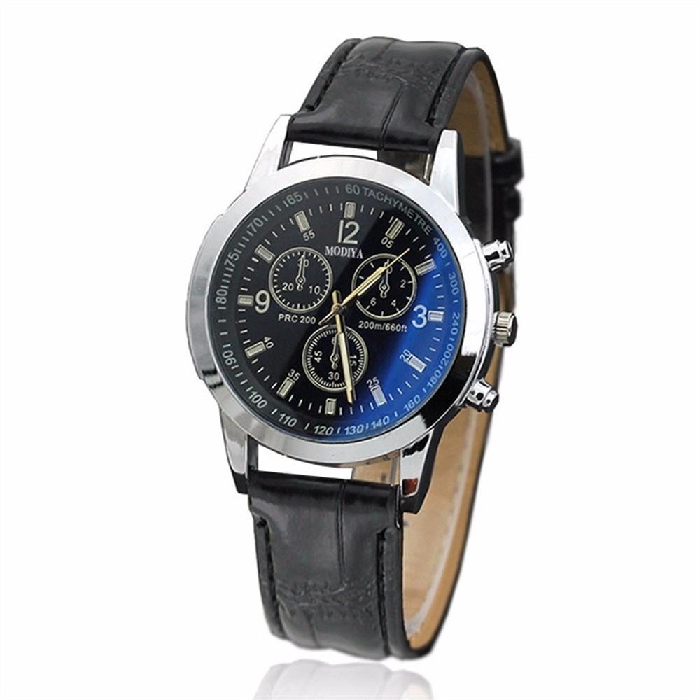 Casual Mens Wrist Watch With Grain Leather Strap, Fashionable Two-tone Watch With Sub-dials Black