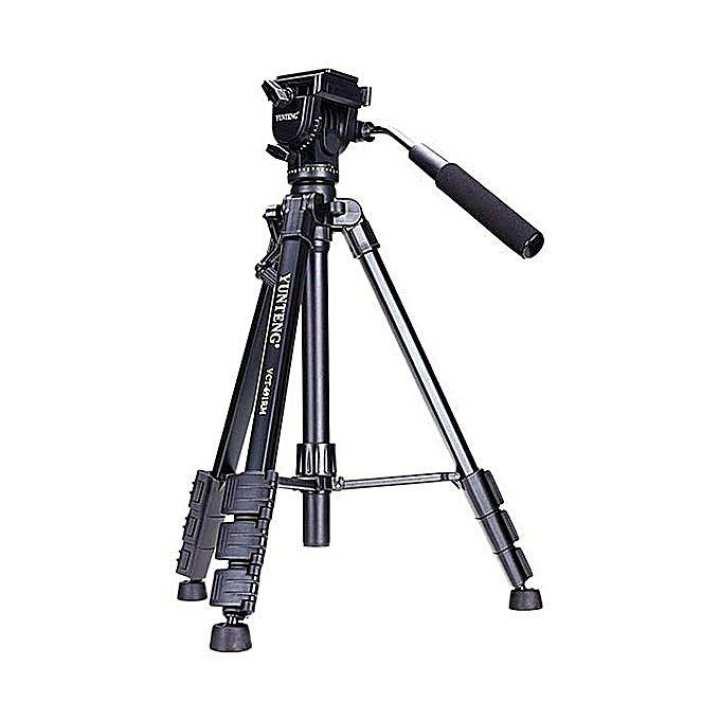 Mini Portable Camera Camcorder Tripod Plus Pan Head for DSLR Canon Nikon Sony Samsung VCT-691 - Black