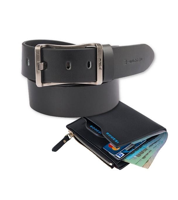 Black Leather Belt and Wallet For Men