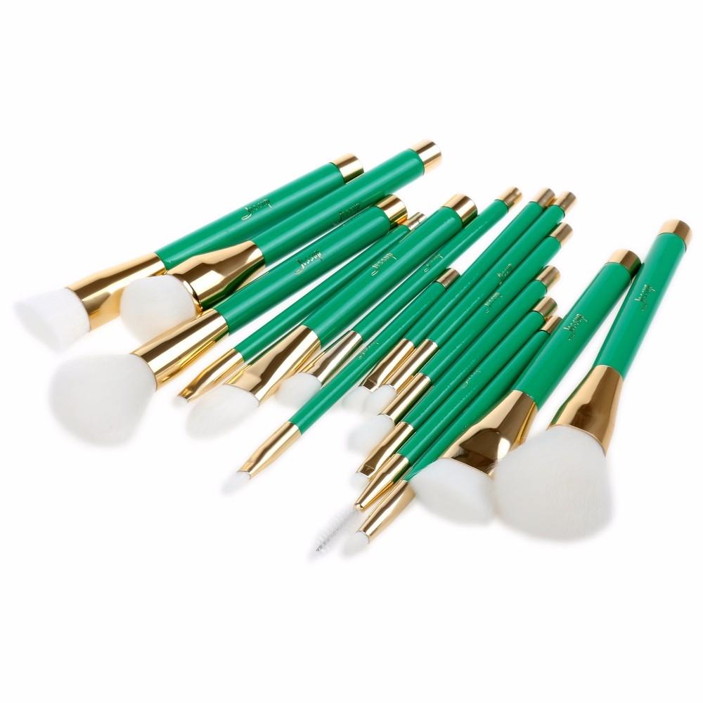 T116 15 PCs Colorful Series Brush Set - Green and Golden