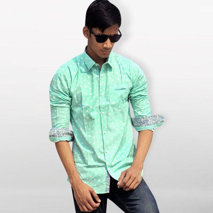 Pest Printed Cotton Casual Long Sleeve Shirt For Men