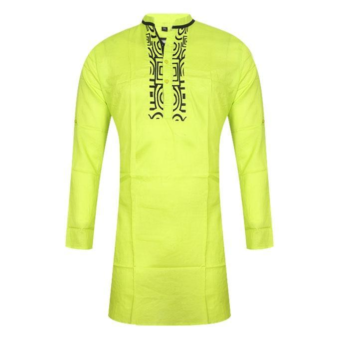 Lemon Green Cotton Panjabi For Men