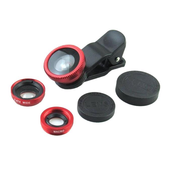 3-In-1 Universal Clip-on Lens - Red