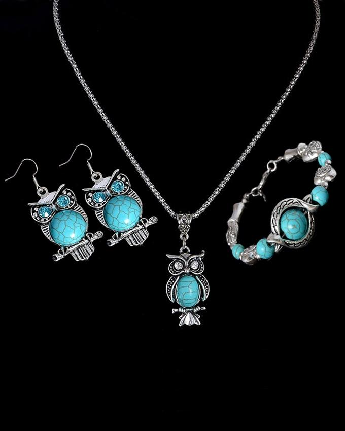 Turquoise Metal Jewellery Set For Women