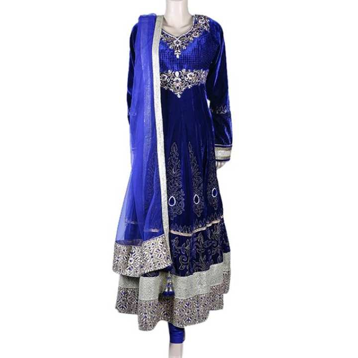 Georgette Casual Long Dress for Women - Blue