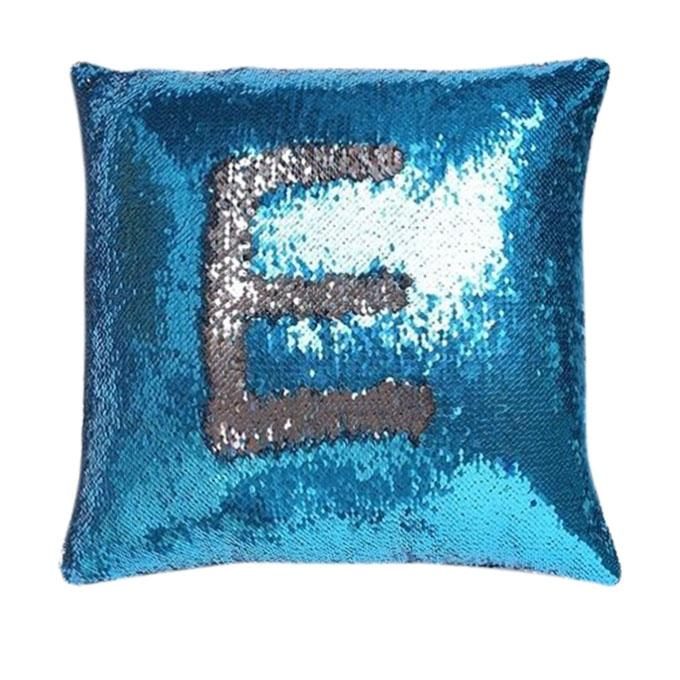 Sequin Mermaid Pillow Turquoise & Silver