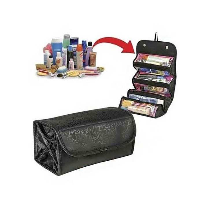 Roll n Go Cosmetic Organizer Bag - Black and Pink