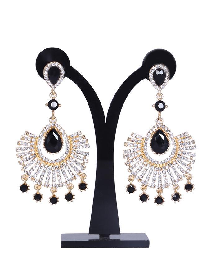 Diamond Cut Earrings For Women - White and Black