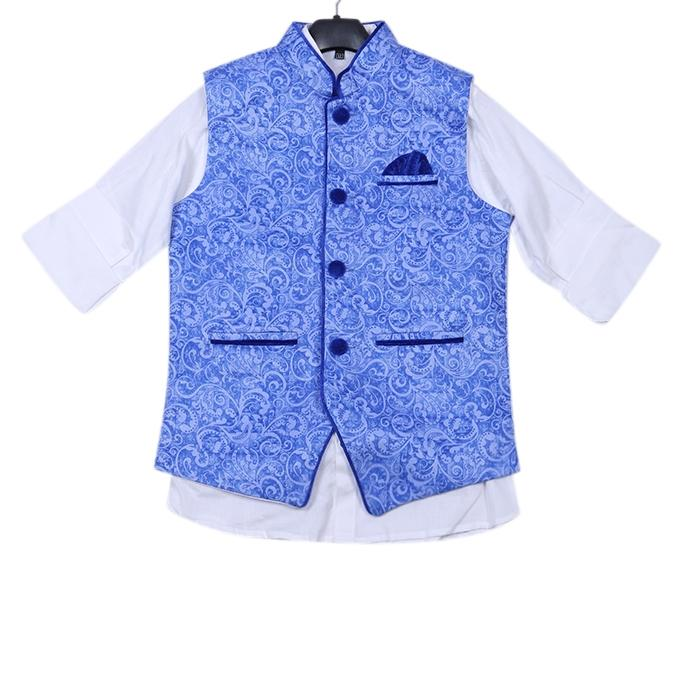 Blue and White Cotton Casual Shirt For Boys