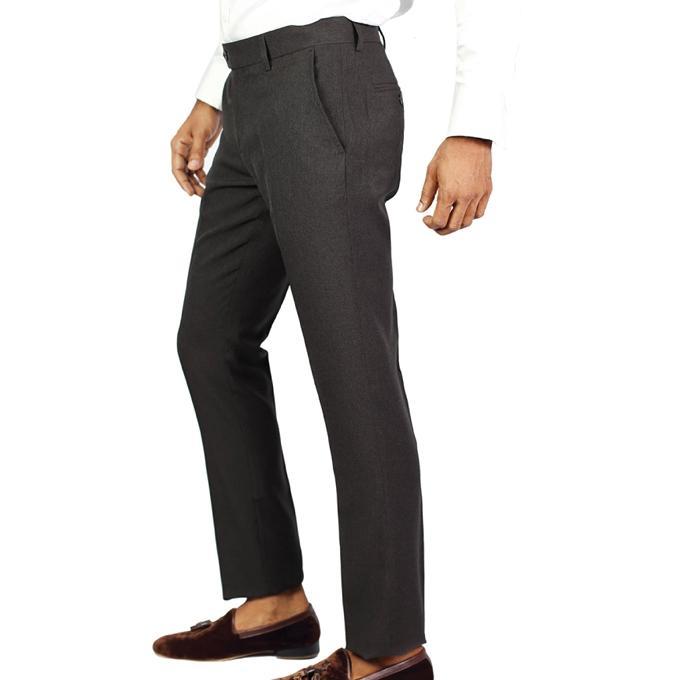 Grey Poly Viscose Formal Pant For Men