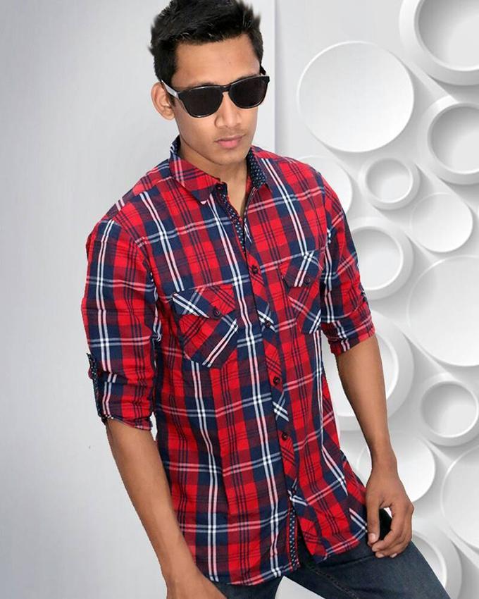 Dark Red Cotton Casual Full Sleeve Shirt For Men