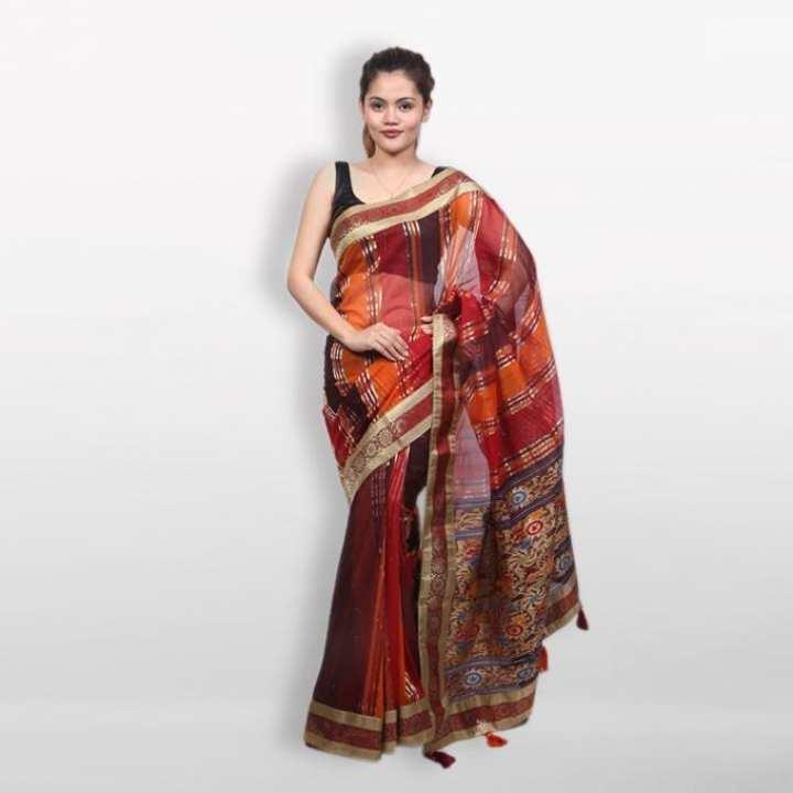 Multicolor Half Silk Patch Work Saree for Women