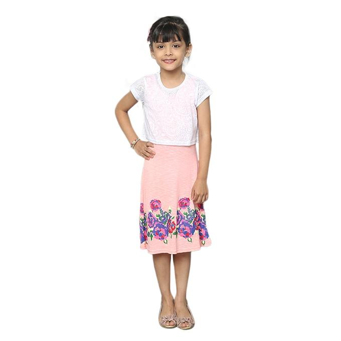 Multi-Color Knit Fabric Short Sleeve Frock for Girls