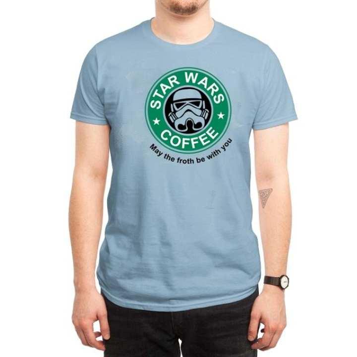 Sky Blue Cotton Star Wars Coffee T-Shirt for Men