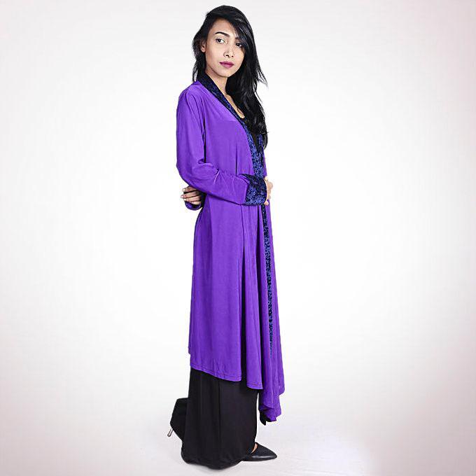 Spandex Casual Velvet Border Tops - Purple