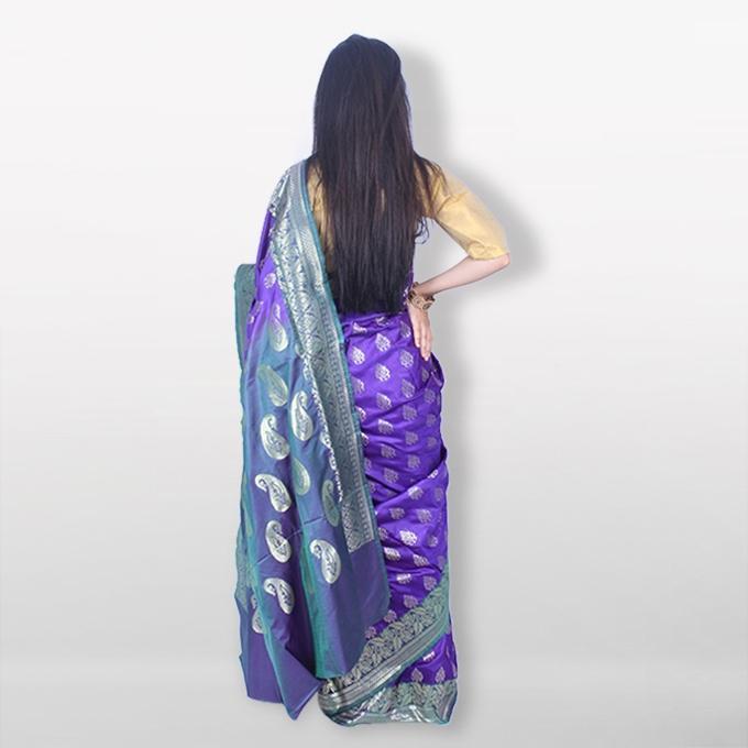 Deep Blue Katan Saree For Women