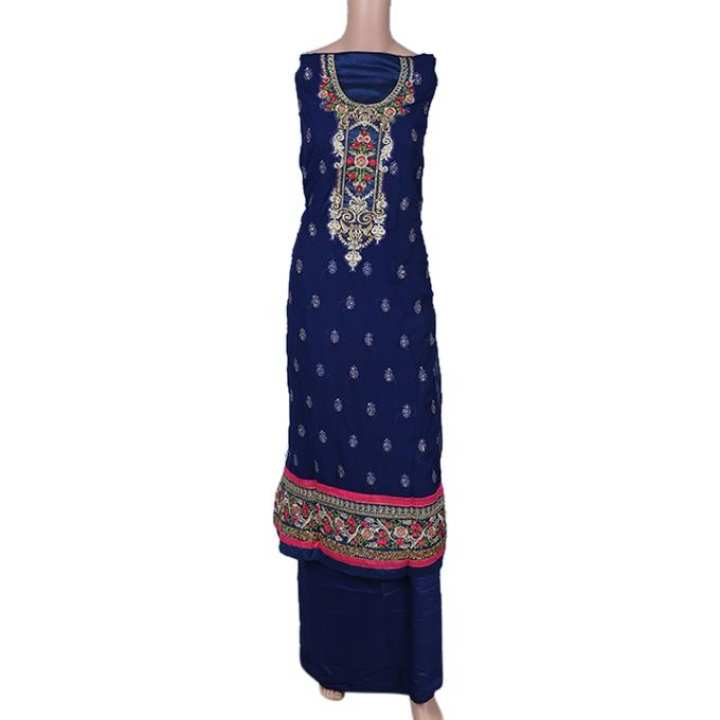 Navy Blue Georgette Unstiched 3 Pieces For Women
