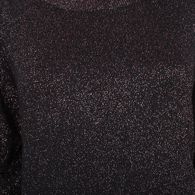 Black Viscose Long Sleeve Round Neck Sweater for Women