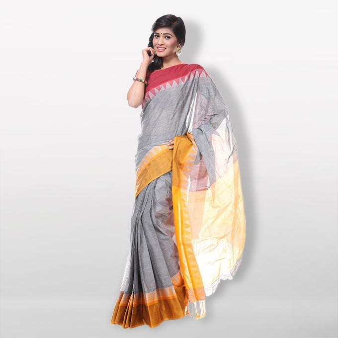 Ash Pure Cotton Saree For Women