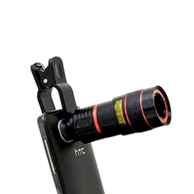 8X Zoom Mobile Telescope Lens - Black