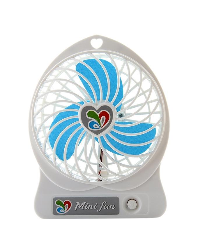 Mini USB Rechargeable Portable Fan – White