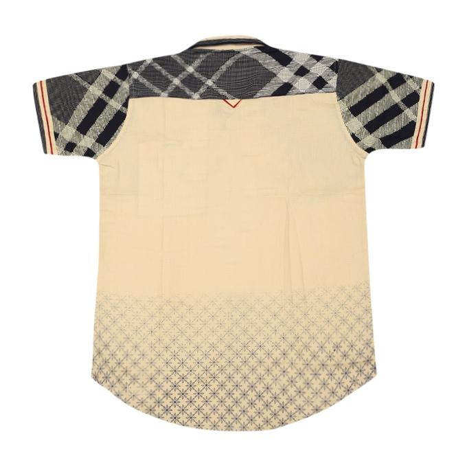 Wheat and Black Cotton Casual Short Sleeve Shirt For Boys