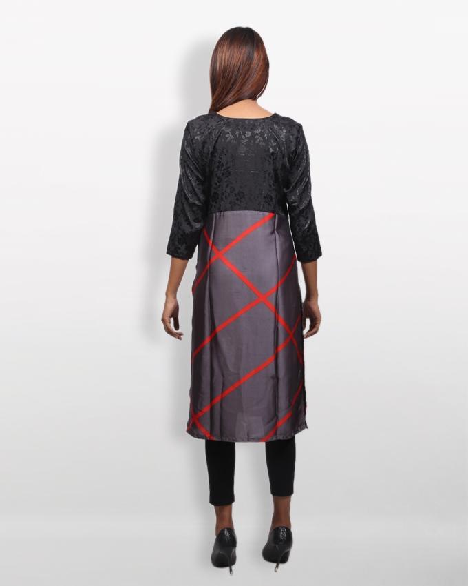 Black And Ash Samu Silk Kurti For Women