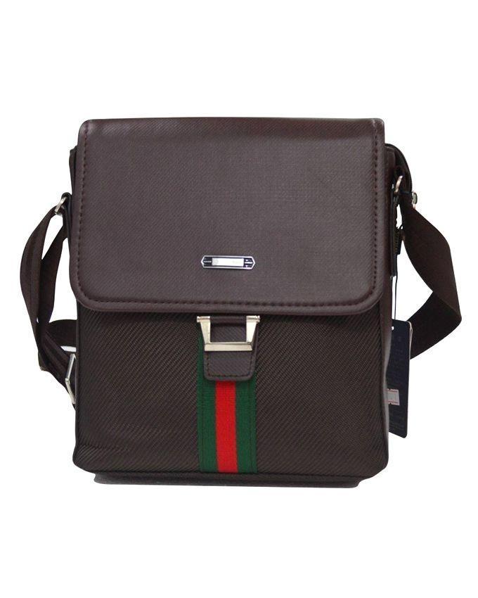 Brown Oxford Messenger Bag For Men
